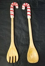 "Candy Cane Handle Wooden Salad Utensils Fork & Spoon 14.5"" Christmas Hol... - $20.31"