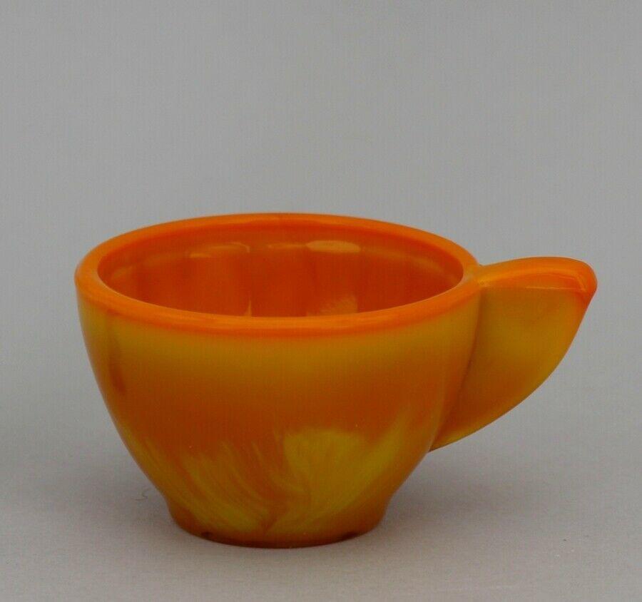 Vintage Akro Agate Toy Dish: Orange Pumpkin Slag Interior Panel Tea Cup