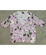 Talbots Petites Lilac Purple Floral Short Sleeve Cardigan Sweater Size S... - $18.57