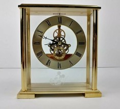 Disney Mantle Clock Brass Howard Miller Carriage Mickey Mouse Gold Color  - $61.71