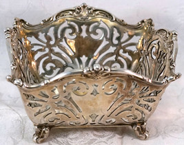 Antique Reed & Barton 905 Silver Square Footed Bowl or Basket Pierced Design - $325.00