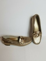 Anne Klein Gold Slip On Shoes Gold on Gold EUC iFlex Loafers Womens Size 8M  - $63.69
