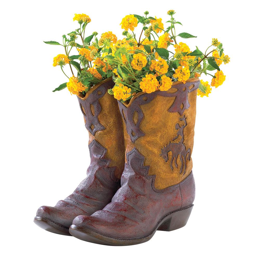 Cowboy Boots Garden Planter Pot