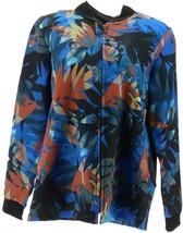 Bob Mackie Leaf Print Zip-Up Knit Jacket Blue Multi XXS NEW A341819 - $30.67