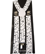 "Unisex Clip-on Braces Elastic ""White Music Note"" Suspender Y-Back Suspender - $6.92"