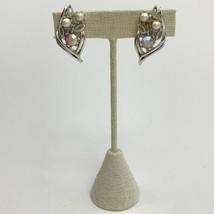 Coro Aurora Borealis Rhinestone Faux Pearl Clip On Earrings Leaf Floral ... - $14.80