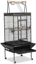 Large Bird Cage Play Top 68 Rolling Stand Parrot Cockatiel Cockatoo Love... - $165.42