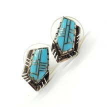 Native American 925 Sterling Silver Baby Blue Turquoise Stud Earrings - $909,32 MXN