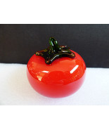 Hand made art glass Red Tomato figure paperweigh decor kitchen dining - $19.01