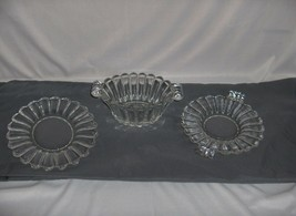 3 Pc Vintage Heisey Crystolite Glass Trays Mayonaisse Bowl Ribbed #5003 NICE - $84.15