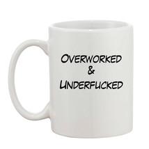 Rude Adult Funny Joke Swearing Gift Overworked & Underf**ked 10oz Mug  - $8.93