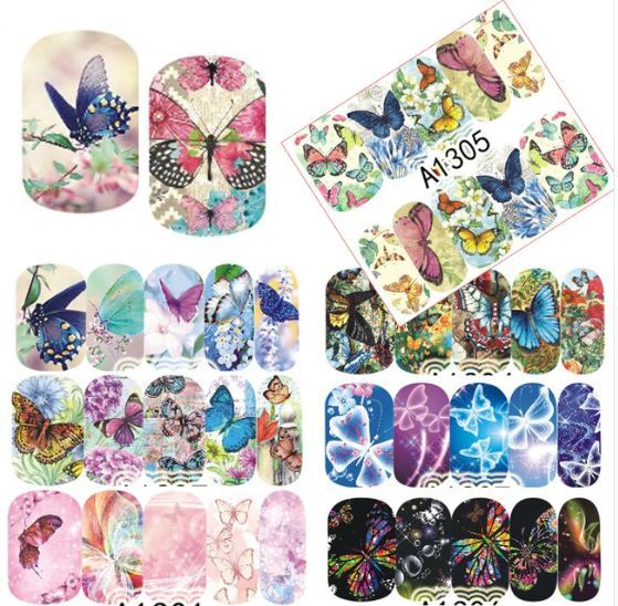"""HS Store -1 Sheets Nail Sticker Butterfly """"A1299"""" Nail Decorations UV Gel Polish"""