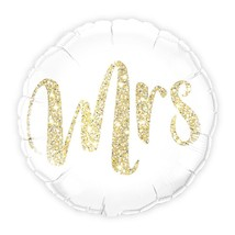 Mylar Foil Helium Party Balloon Wedding Decoration - White with Gold Mrs... - $6.99