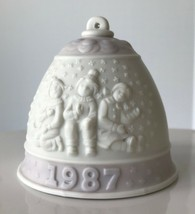 1987 Lladro Christmas Bell Ornament Lavender Kids in Snow Porcelain No Box - $12.59
