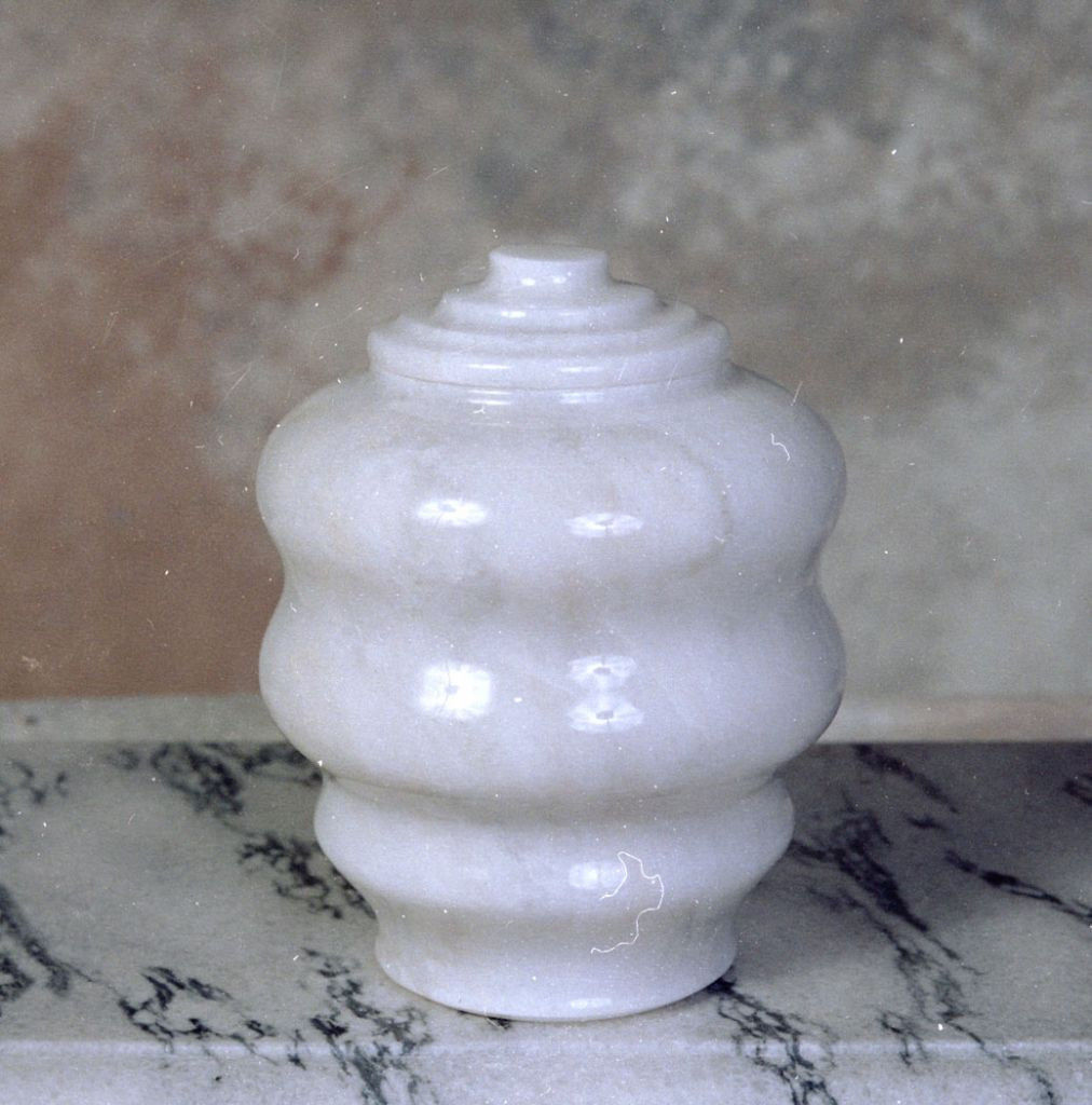 Fuji Antique White Marble Funeral Cremation Pet Urn image 1