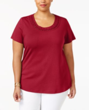 Karen Scott Daring Dynasty Cotton Braided-Trim Top, Small - $17.81