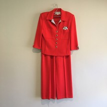 St John Collection By Marie Gray Santana Knit Pants Suit Size 4 Red Jack... - $182.33