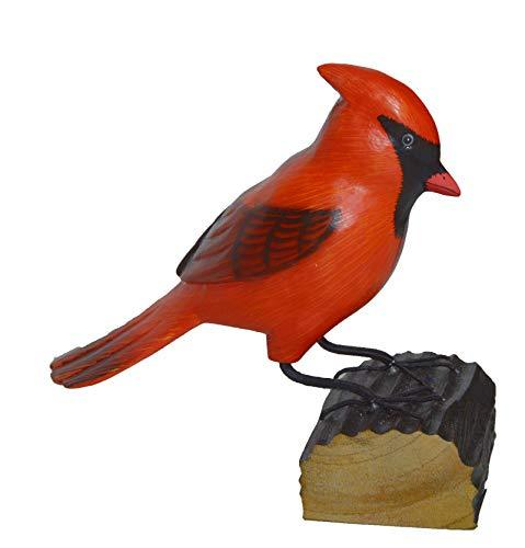 Hand Carved Painted Wood Carving Cardinal Bird Decoy Vintage Style Wood Replica  - $24.69