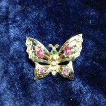Vintage Coro 1950's Brooch Pin Gold Tone with Pink White and Green Rhinestones - $24.79