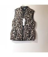 Workshop Republic Clothing Leopard Print & Black Quilted Vest Reversible Small - $38.56