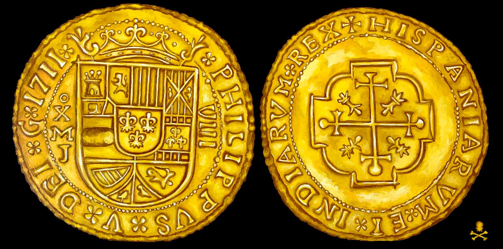 """PAINTING (NOT COIN): MEXICO 1711 ROYAL """"FLEET SHIPWRECK"""" ESCUDOS  GOLD TREASURE"""