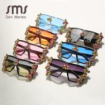 Oversized Colorful Diamond Sunglasses Women Luxury Fashion One Piece Square Sung image 6