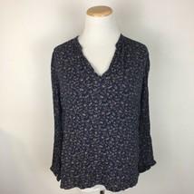 Gap Women's Navy Blue Hippie Floral Longsleeve Floral Blouse Top Size Medium  - $13.85