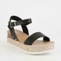 Soda Clip Women Espadrille Flatform Sandals Size US 6.5 Black - $44.53