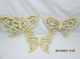 Vintage 1978 Homco #7537 (Dart Ind) Butterfly Wall Plaques (set-3) USA - $10.00