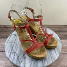 Michael Kors Cicely Red Patent Leather Cork Wedge Sandals Womens Size 6 - $29.95