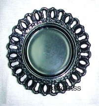 Ebony Black Glass Border Plate Ovals, Arches, Curliques 7 inch - $25.99