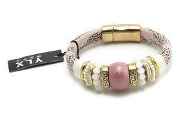 Pink And Black Strap Bracelet Bead And Rhinestone Accents With Magnetic ... - $7.49