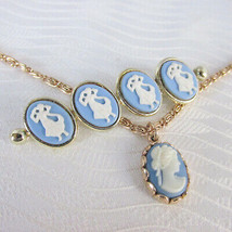 1975 Vintage Avon Cameo Princess Pendant Necklace Bar Pin Wedgewood Blue... - $13.50