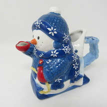 Blue Snowman Pitcher Creamer Syrup New Snowflakes MCO Christmas Holiday ... - $16.75