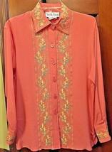 Diane von furstenberg Pink 100% Silk Long Sleeve Floral SEXY Blouse Size... - $19.79