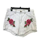 Fashion Nova Aphrodite Rose Appliqué White Jean Shorts With Frayed Hem S... - $12.71