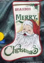Vtg Janlynn Traditional Santa Merry Christmas Cross Stitch Stocking Kit 78-6 R - $42.95