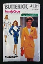 Butterick VTG Family Circle Pattern 3491 12 - 16 Jacket Skirt Top Uncut '89 - $14.84
