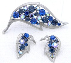 VTG Silver Tone Blue AB Rhinestone Leaf Brooch Pin Earrings - Unsigned J... - $74.25