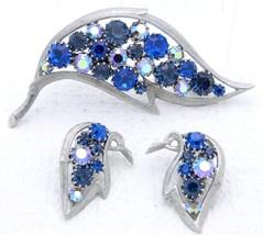 VTG Silver Tone Blue AB Rhinestone Leaf Brooch Pin Earrings - Unsigned J... - $74.25