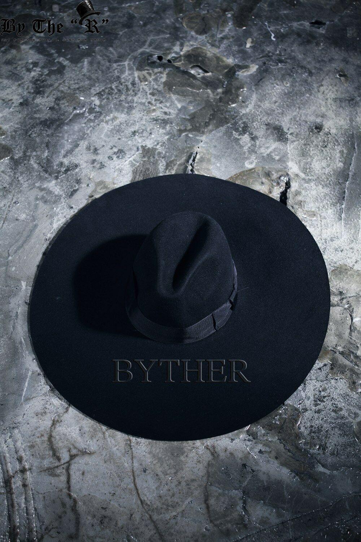 5b4f45ba72190 ByTheR Unisex Modern Chic Classic Style Floppy Wide Brim Wool Felt Fedora  Hat