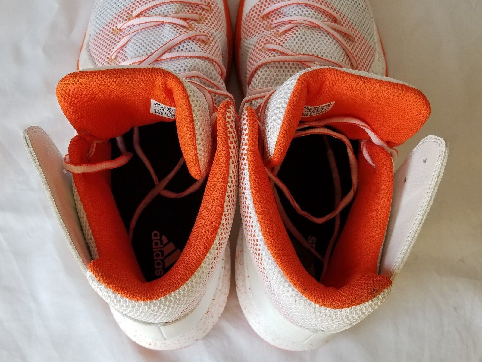 83c5f070ddb2a Adidas Men s White Orange Crazy Bounce Basketball Shoes Size 17 B39304