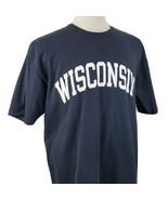 Champion University of Wisconsin T-Shirt Crew S/S Navy Blue Cotton Spell... - $15.99