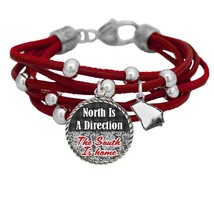 Georgia North is a Direction South is Home Red Leather Bracelet Southern... - $13.80