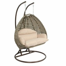 Island Gale 2Person Outdoor Patio Rattan Hanging Wicker Swing Chair Egg ... - $998.98