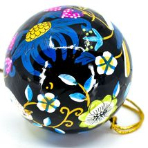 Asha Handicrafts Painted Papier-Mâché Birds on Black Holiday Christmas Ornament image 3