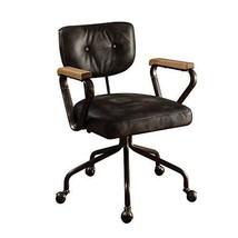 Acme Hallie Top Grain Leather Office Chair, Vintage Black - $615.19