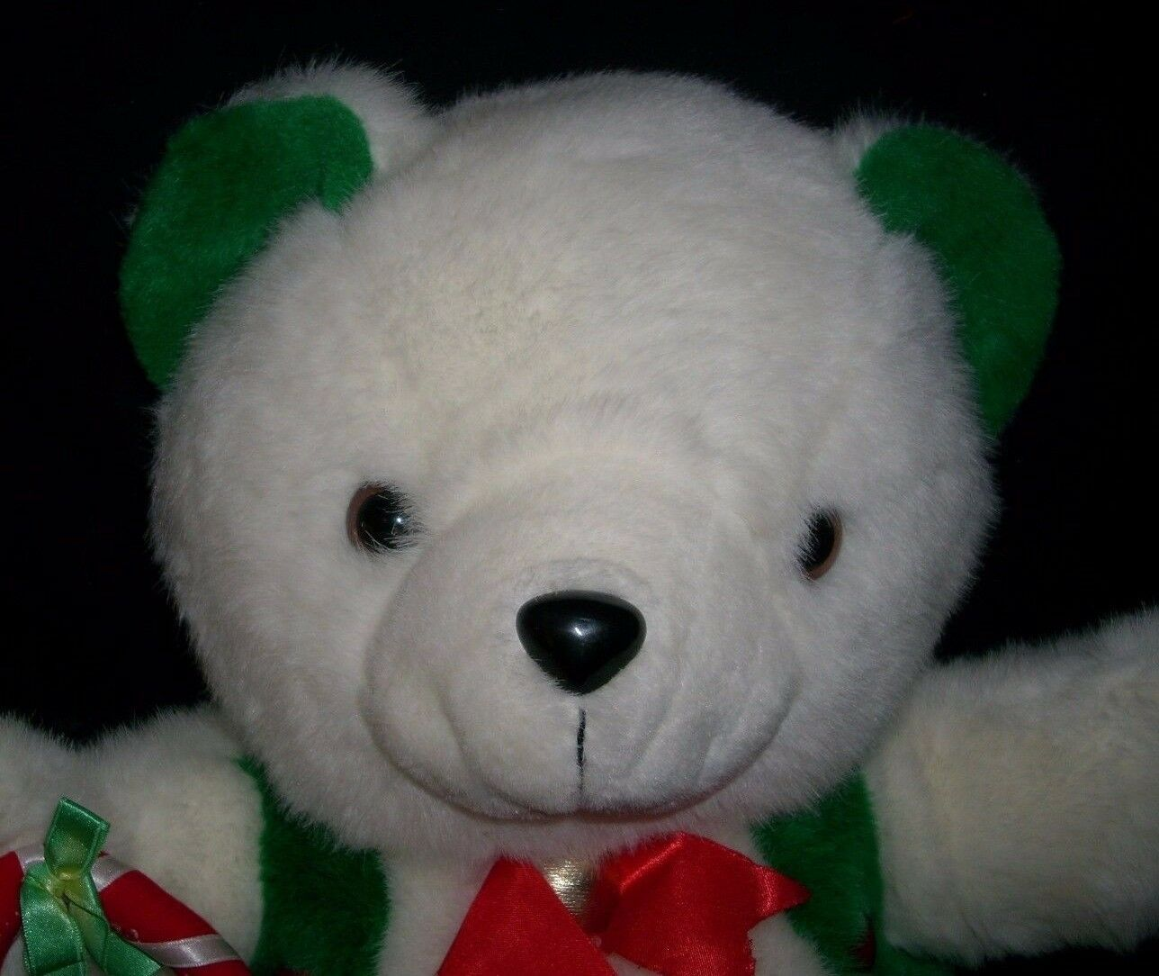 "20"" VINTAGE CHRISTMAS ENESCO WHITE GREEN RED TEDDY BEAR STUFFED ANIMAL PLUSH TOY image 2"