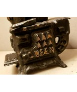 "Vintage 1960's ""QUEEN"" Cast Iron Miniature Toy Stove With Pots & Accesso... - $47.45"