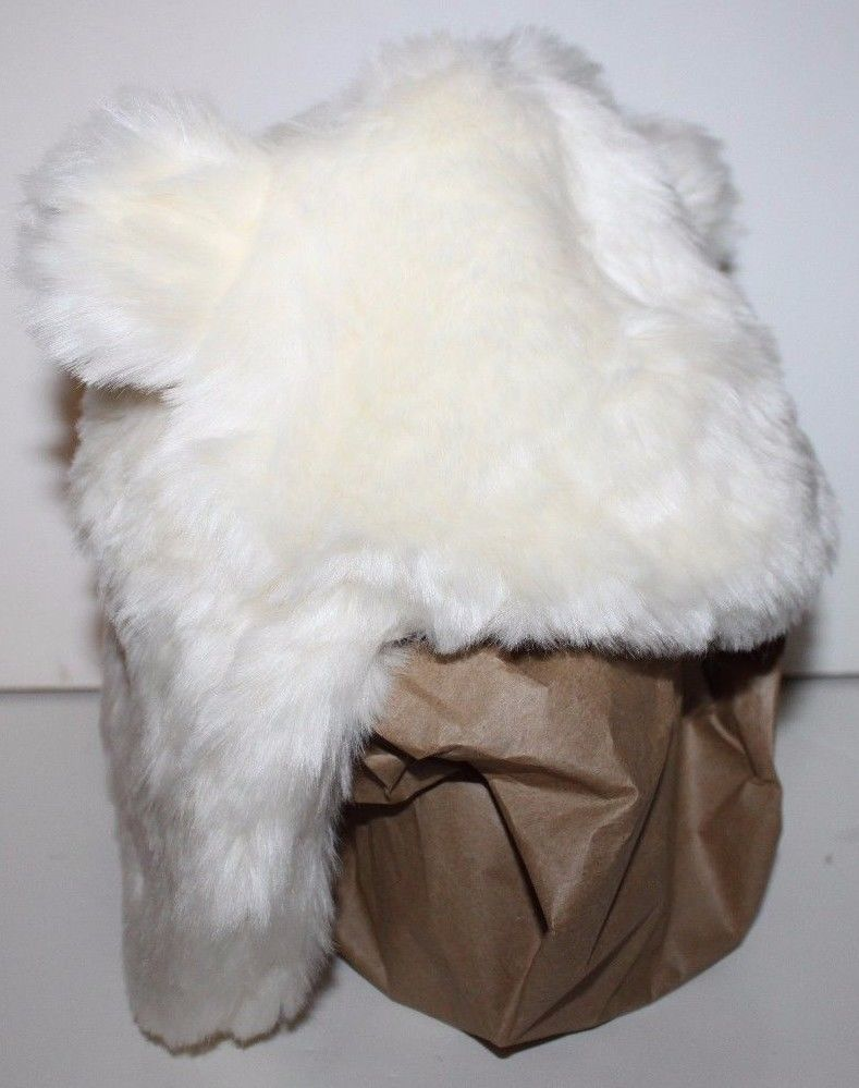 Girls Size 3-6 Months NWT Sherpa Ivory Trapper Bear Hat w//Ears GAP Baby Boys